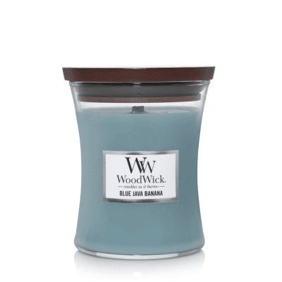 woodwick blue java banana doftljus soja vax medium